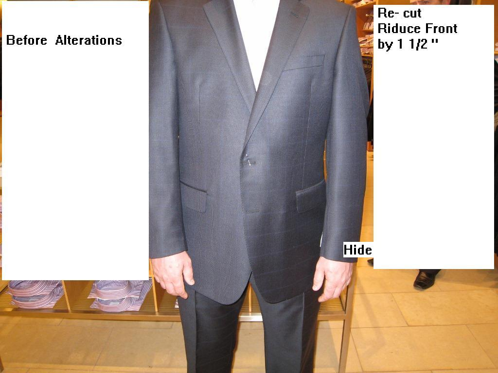 1  Re-cut jacket  reduce front, fix sleeves