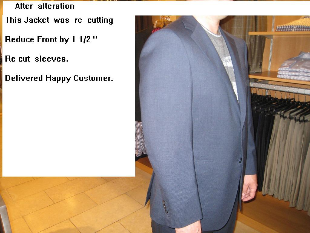 4  Re-cut jacket  reduce front, fix sleeves