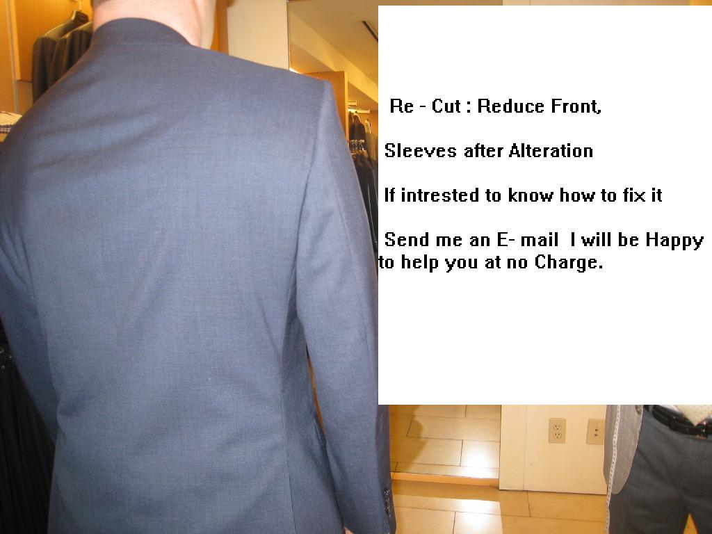 6  Re-cut jacket  reduce front, fix sleeves